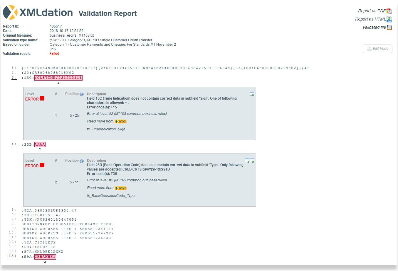 Validation report
